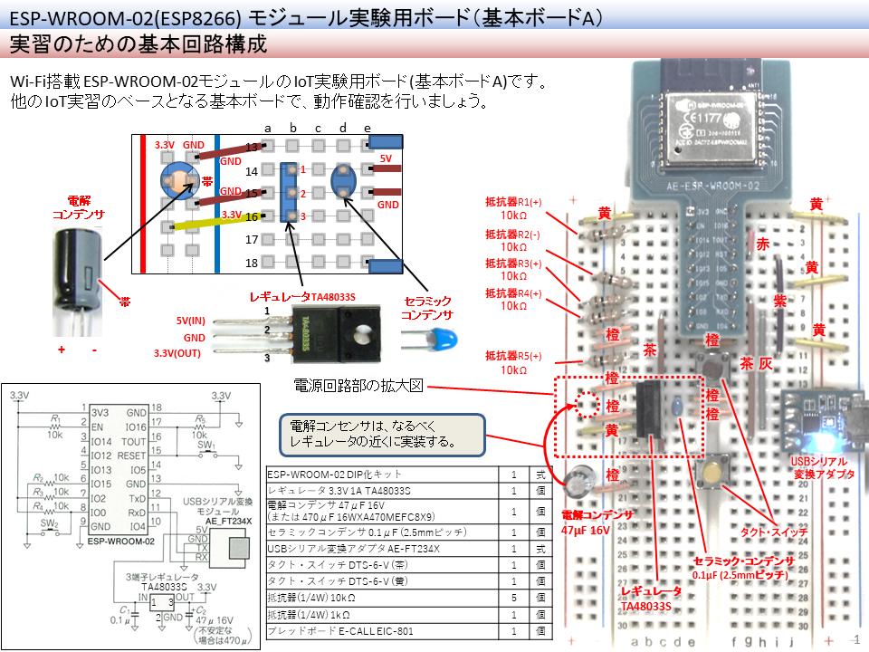 このキットで作るESPモジュール実験用ボード